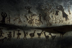Magura cave in Bulgaria. Prehistoric paintings on rock Royalty Free Stock Photos