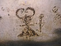 Magura Cave in Bulgaria. Prehistoric wall paintings drawings with bat guano. Royalty Free Stock Image
