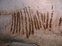 Magura Cave in Bulgaria. Prehistoric wall paintings drawings with bat guano. Stock Photos