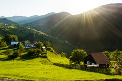 Magura village,a picturesque place from Brasov county, Transylvania, Romania. Magura village is one of the most beautifuls villages from Brasov county stock photo
