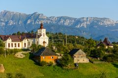 Magura village,a picturesque place from Brasov county, Transylvania, Romania. Magura village is one of the most beautifuls villages from Brasov county stock photography
