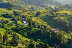 Magura village,a picturesque place from Brasov county, Transylvania, Romania. Magura village is one of the most beautifuls villages from Brasov county stock image