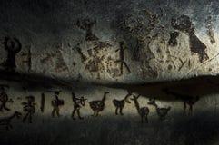 Magurahol in Bulgarije Voorhistorische schilderijen op rots Royalty-vrije Stock Foto's