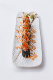 Maguro Maki Sushi Topping with Maguro Bluefin Tuna with Sauce and Ebiko Shrimp Egg Served with Wasabi and Prickled Ginger Stock Photography