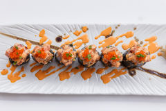 Maguro Maki Sushi Topping with Maguro Bluefin Tuna with Sauce and Ebiko Shrimp Egg Served with Wasabi and Prickled Ginger.  Stock Images