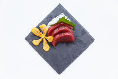 Maguro Sashimi : Sliced Raw Maguro Tuna Served with Sliced Radish on Stone Plate Stock Photography