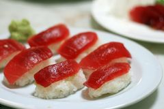 Maguro Sushi Feast. A plate of Nigiri Sushi, topped with Maguro Stock Image