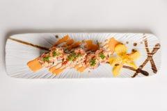 Maguro Sushi Roll Topping with Maguro Bluefin Tuna, Ebiko, Scallion and Sauce Stock Image