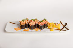 Maguro Sushi Roll Topping with Maguro Bluefin Tuna, Ebiko, Scallion and Sauce Royalty Free Stock Photography