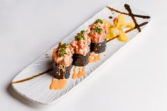 Maguro Sushi Roll Topping with Maguro Bluefin Tuna, Ebiko, Scallion and Sauce Royalty Free Stock Images
