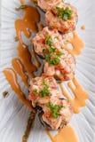 Maguro Sushi Roll Topping with MaguroBlufin Tuna, Ebiko, Scallion and Sauce Stock Photography