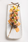 Maguro Sushi Roll Topping with MaguroBlufin Tuna, Ebiko, Scallion and Sauce Royalty Free Stock Image