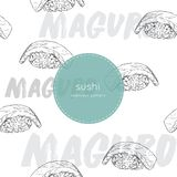Maguro sushi seamless pattern vector. Hand draw sketch sushi japanese food vector illustration