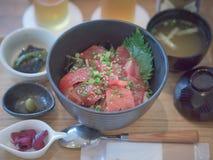 Magurodon, la cuvette rouge japonaise célèbre de thon Photo stock