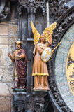 Magus and archangel Michael figures. Magus and archangel Michael on Prague Astronomical Clock Stock Images