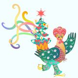 Magus - rooster and Christmas tree. Fairy tale Stock Photos