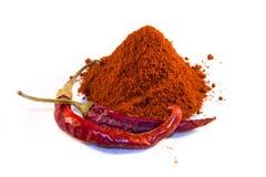 Hungarian paprika powder. Magyar (Hungarian) paprika - dried peppers and powder Royalty Free Stock Photo
