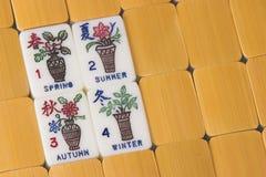 Mah Jong Game pieces. Mah Jong Season Game pieces Stock Photos