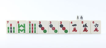 Mah Jong Tiles. Sample asian mah jong game tiles with dice; white background Stock Photography