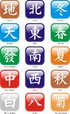 Mah Jongg Characters. Mah Jongg Chinese Characters with winds, dragons, seasons etc - Vector Stock Photos