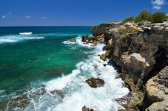 Maha'ulepu遗产足迹海岸视图,考艾岛,夏威夷 库存照片