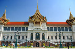 Maha Chakri Prasat Building in Wat Phra Keaw. As the most population of Thailand is Buddhist, we can find many temple and buddha image from village to big city Stock Image