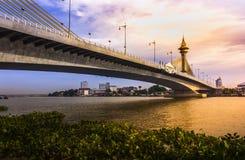 Maha Chesadabodindranusorn Bridge Suspension bridge across the chao phraya river in thailand Royalty Free Stock Photo