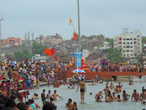 Maha Kumbh Mela 2015. Kumbh Mela is a mass Hindu pilgrimage of faith in which Hindus gather to bathe in a sacred river. Every 12 years, millions of pilgrims come stock images