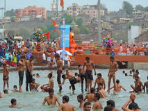 Maha Kumbh Mela 2015. Kumbh Mela is a mass Hindu pilgrimage of faith in which Hindus gather to bathe in a sacred river. Every 12 years, millions of pilgrims come Royalty Free Stock Photos