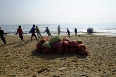 Mahabalipuram beach. Fisherman on the beach at Mahabalipuram Tamil Nadun Royalty Free Stock Photo