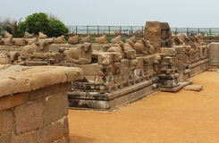 Mahabalipuram monuments. Ancient monuments -UNESCO World Heritage centre- Group of Monuments at Mahabalipuram- Founded by the Pallava kings, was carved out of stock image