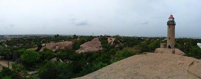 Mahabalipuram Panaroma z latarnią morską fotografia royalty free