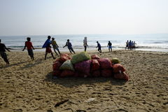 Mahabalipuram strand Arkivfoto