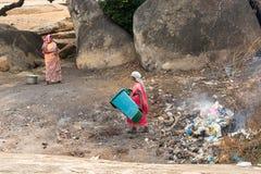 Mahabalipuram Tamil Nadu, Indien - 1 3 2018; förlorat förfogande och royaltyfria bilder