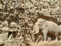 Mahabalipuram Temple Bass-Relief Stock Images