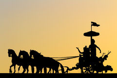Mahabharatasilhouet Stock Afbeeldingen