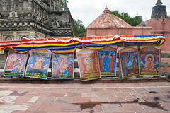 Mahabodhi寺庙周围在Bodhgaya的 免版税库存照片