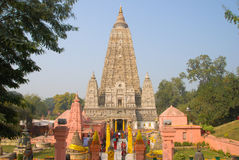 Mahabodhi寺庙, bodh gaya,印度 高塔姆菩萨的站点 免版税图库摄影