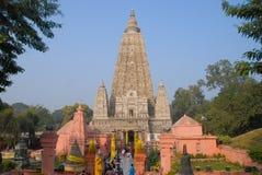 Mahabodhi temple, bodh gaya, India. The site where Gautam Buddha. Bodh gaya, India - February 8, 2006: Bodh Gaya is a religious site and place of pilgrimage royalty free stock images