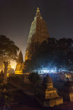 Mahabodhi temple and Bodhi-tree. Night illumination of a Bodkhi-tree near base of Mahabodhi Temple, on the place where Buddha Shakyamuni has reached an Stock Photos