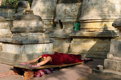 Mahabodhy Temple in India. Buddhistic monk prayer. Mahabodhy Temple in Bodhgaya, Bihar, India Royalty Free Stock Photos