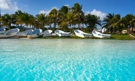 Mahahual Caribbean beach in Costa Maya. Of Mayan Mexico Stock Images