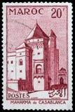 Mahakma in Casablanca. MOROCCO - CIRCA 1947: a stamp printed in Morocco shows Mahakma in Casablanca, circa 1947 Royalty Free Stock Image