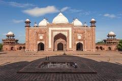 Mahal moskee en schaduw van taj Stock Afbeelding