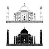 mahal taj Ινδία Περίληψη και σκιαγραφία διάνυσμα Πολύ υψηλή λεπτομέρεια Στοκ Εικόνα