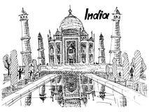 Mahal vykortIndien taj skissar teckningen royaltyfri illustrationer