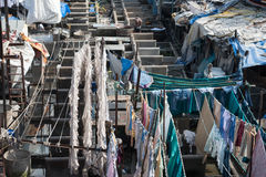 Mahalaxmi Dhobi Ghat. This dhobi ghat, or outdoor laundry, is considered to be the largest of its kind in the world. Here laundry from all over the city is Stock Photography