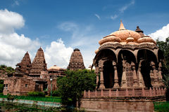 Mahamandir Temple. Is located two kilometers away from Jodhpur, India on the road towards Mandore.It was built in 1812. The fantastically carved 84 pillars in Royalty Free Stock Photos