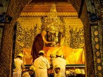 Mahamuni Buddha image face wash ritual, Mandalay, Myanmar 4 Royalty Free Stock Images