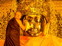 Mahamuni Buddha image face wash ritual, Mandalay, Myanmar 6 Stock Photography